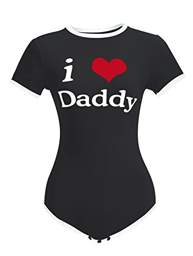 LittleLittle Adult Baby Onesie ABDL Snap Crotch Romper Onesie,I Love Daddy Onesie,, Black XS