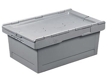 nouveau style ae784 6794a Caisse plastique grise 38 litres 60x40 mm avec couvercle 2 ...
