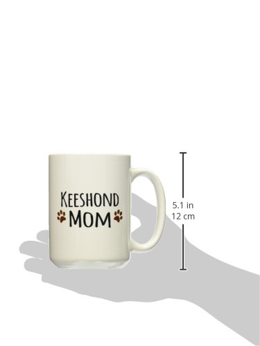 3dRose mug_154143_2 Keeshond Dog Mom Doggie by Breed Brown Muddy Paw Prints Doggy Lover Proud Pet Owner Mama Love Ceramic Mug, 15-Ounce 2