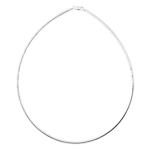 Solid Sterling Silver Rhodium Plated 3.25 Millimeters Omega Chain Necklace, 18 Inches ()