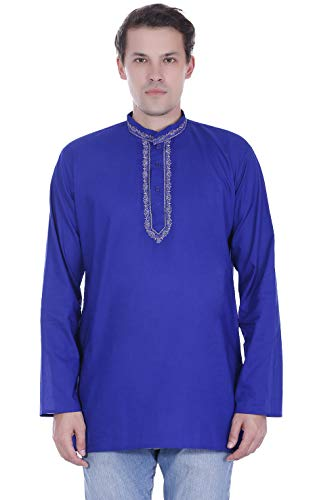 SKAVIJ Mens T- Shirt Kurta Long Sleeve Casual Button Down Cotton Tunic Kurta Dress Blue ()