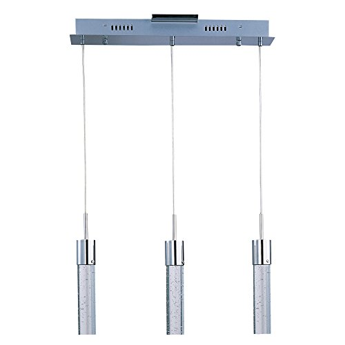 ET2 E22773-91PC Fizz IV 3-Light LED Linear Pendant, Polished Chrome Finish, Bubble Glass, PCB LED Bulb, 20W Max., Dry Safety Rated, 2900K Color Temp., Standard Dimmable, Glass Shade Material, 1150 Rated Lumens