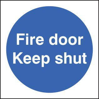 Fire Signs - Fire door keep shut double sided self adhesive 100x100mm - Self Adhesive Window Sticker iSigns