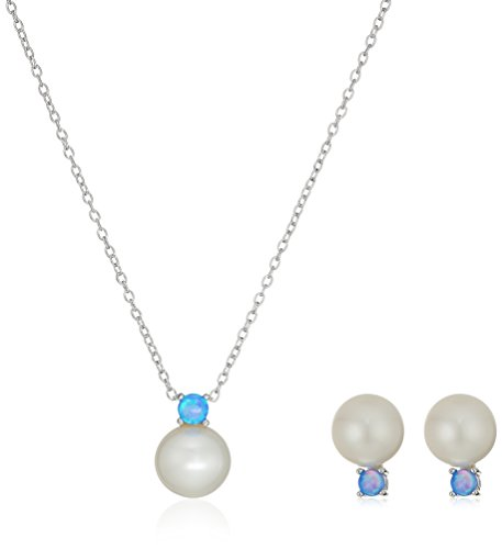 - Sterling Silver Created Blue Opal and Freshwater Cultured Pearl Pendant Necklace and Stud Earrings Jewelry Set