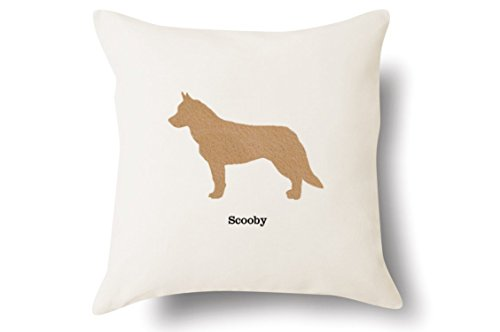 Siberian Husky Embroidery (Personalized Siberian Husky Pillow - Silhouette Felt Appliqué - 100% Off-White Cotton - 4 Color Choices - Blue Green Pink Tan -)