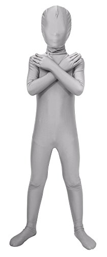 Sheface Kids Spandex Full Bodysuit Fancy Dress Costume (Medium, Light Gray) - Kids Body Suit
