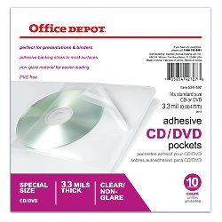 Office Depot Sheet Protector CD/DVD Pockets, 6in. x 10 1/2in., Clear, Pack Of 10, 534597 (Adhesive Pockets Cd Self)