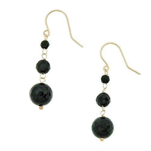 10K Yellow Gold Natural Black Onyx Dandling Drop - Onyx Gold Dangling