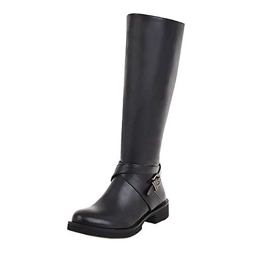 Femmes Noir Bottes Coolcept Fermeture Éclair 23 Longue Plates Boots vEqqPpw