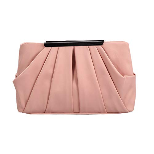 Womens Pleated Satin Evening Handbag Clutch With Detachable Chain Strap Wedding Cocktail Party Bag (Rose Gold)