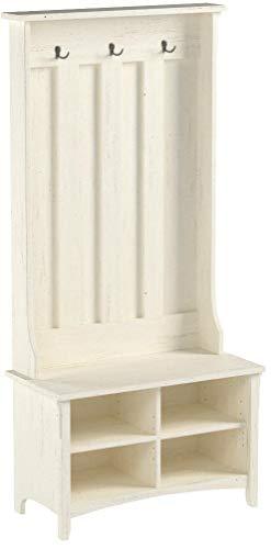 Bush Furniture Salinas Hall Tree with Storage Bench in Antique White