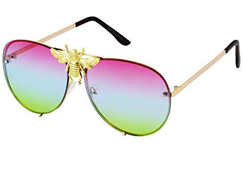 Big Bee Pilot Sunglasses Oversize Metal Frame Vintage Gradient Summer Shades (Purple/Blue/Green)