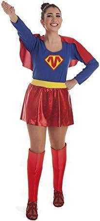 Disfraz de Súper Heroína Azul y Rojo para Mujer: Amazon.es ...