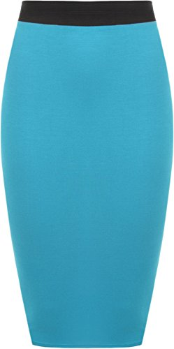 WearAll - Midi Jupe Crayon Moulant Elastique Uni avec Taille Haute - Jupes - Femme - Grandes Tailles 44-54 Turquoise
