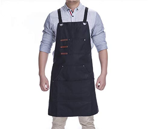 (KSMYZX Durable Goods - Heavy Duty Multi-Pocket Black, Gray, Black Denim Multi-Purpose Apron, S-XXL Full-Size Cross Strap, Cafe, Restaurant, Barbecue, Workshop, Hairdresser, Woodwork, Safety Large Stor)