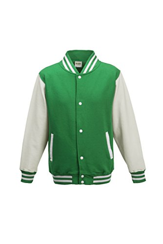 (AWDis Hoods Boys' Varsity Letterman Jacket Kelly Green / Arctic White 12 to 13 Years)