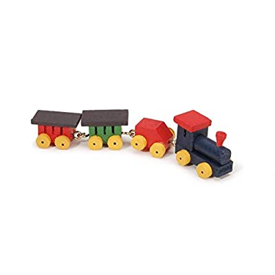 Darice Miniature - Painted Wood Tiny Train - .75 inch - 1 Set: Arts, Crafts & Sewing