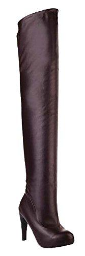 Die neu hochhackigen Stiefel wasserdicht Overknee-Stiefel Braun