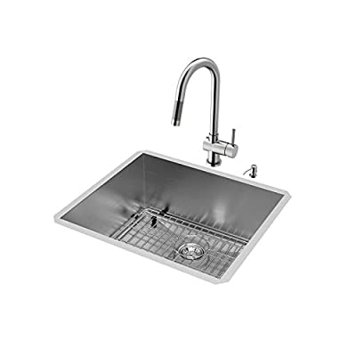 VIGO 23 inch Undermount Single Bowl 16 Gauge Stainless Steel Kitchen Sink with Gramercy Stainless Steel Faucet, Grid, Strainer and Soap Dispenser