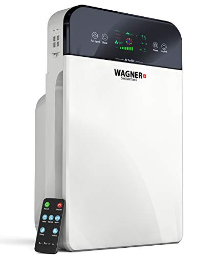 (WAGNER Switzerland Premium Air Purifier H885, Swiss i-Sense Technology, for Rooms up to 400 sq.ft Removes 99.7% of Mold, Odors, Dust, Smoke, Allergens and Germs, True HEPA Filter 5-Stage Purification.)