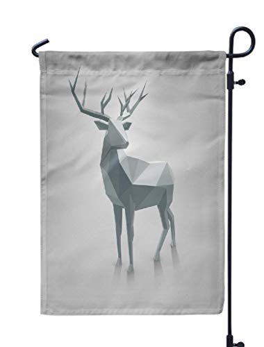 (Soopat Reindeer Seasonal Flag, Deer with Space Stag Christmas Graphic Christmas Deer Weatherproof Double Stitched Outdoor Decorative Flags for Garden Yard 12''L x 18''W Welcome Garden Flag)