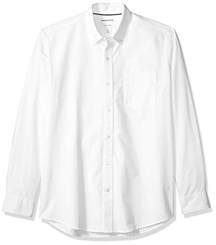 Amazon Essentials Men's Regular-Fit Long-Sleeve Solid Pocket Oxford Shirt, White, ()