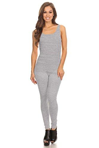Women's Scoop Neck Sleeveless Stretch Cotton Jersey Unitard Bodysuits (Large, Grey) -