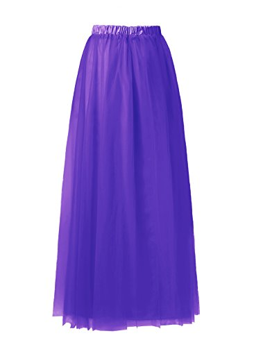 Emondora Tutu Tulle A-Line Floor Length Skirt Women Prom Evening Gown Dress Up Purple Size XL (Masked Ball Outfit)
