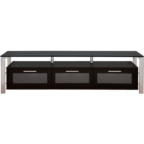 (Plateau DECOR 71 BS BG Wood and Glass TV Stand, 71-Inch, Black Oak Finish)
