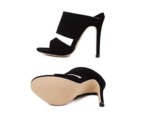 Fiesta Black Las Pie Dedo Transparentes Abren De Zapatos Del Vestido Sandalias Boda Mulas Altos Tacones Mujeres Ghfjdo Bombas axq1T4q