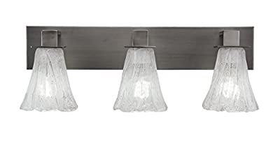 "Toltec Lighting 583-GP-729 Apollo 3 Light Bath Bar with 5.5"" Fluted Italian Ice Glass, Graphite Finish"