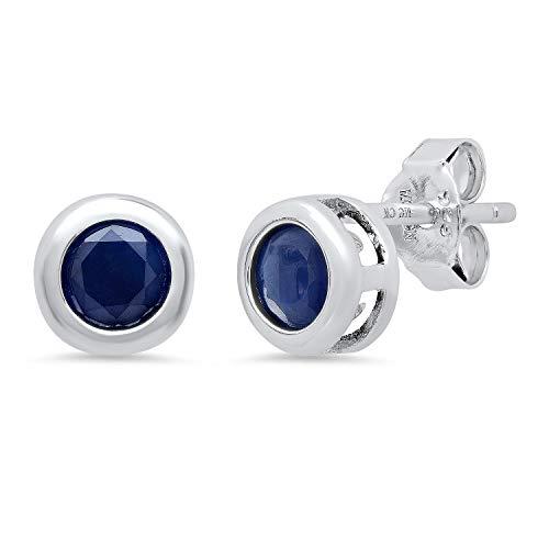 Genuine Black Sapphire Bezel Set Stud Earrings in Sterling Silver (5mm)
