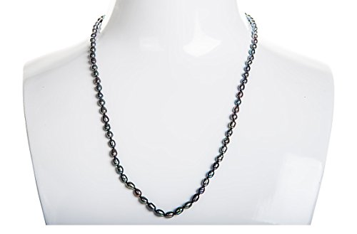 Single Strand Rice Shape Peacock Blue Freshwater Pearl Necklace 4mmx5mm ()