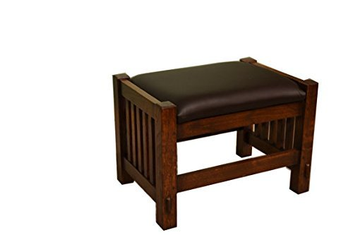 (Crafters and Weavers Solid Oak Mission Style Foot Stool Footstool Ottoman)