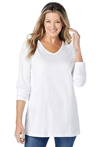 Woman Within Women's Plus Size Perfect Long-Sleeve V-Neck Tee Shirt