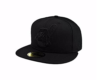 New Era 59Fifty Men's Hat Cleveland Indians MLB Baseball Black/Black Fitted Cap