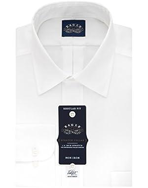 Men's Non Iron Stretch Collar Regular Fit Solid Point Collar Dress Shirt
