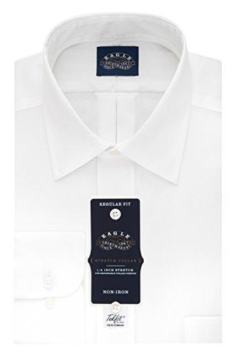 EagEagle Men's Non Iron Stretch Collar Regular Fit Solid Point Collar Dress Shirt, White, 16.5
