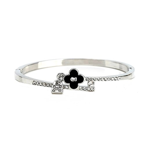 United Elegance - Trendsetting Silver Tone Hinged Bangle Bracelet with Clover Design and Sparkling Swarovski Style Crystals from United Elegance