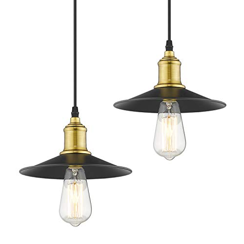 Gold Two Antique Light (Jazava Industrial Pendant Lighting, Mini Adjustable Hanging Light Fixture 2 Pack for Farmhouse, Antique Brass Black Finish)