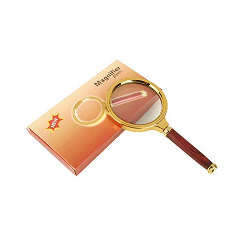 Magnifier Magnifying Glass with Wooden Handle, Hand-held 10X Diameter 80MM Gold-Plated Reading Reading Magnifying Glass Microscope