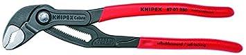 KNIPEX 87 01 180 Cobra – kompakte Hightech-Wasserpumpenzange, Griffe mit Kunststoff überzogen, 180 mm 8701180 Zangen: Wasserpumpenzangen