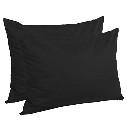 uxcell Zippered Standard Pillow Cases Pillowcases Covers, Egyptian Cotton 300 Thread Count, 20 x 26 Inch, Black, Set of 2
