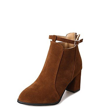Casual 5 For US6 CN37 Boots Shoes Women'S EU37 7 Black Chunky Khaki RTRY UK4 Boots Zipper Brown 5 5 Heel Suede Toe Winter Fashion Pointed TBOwxwq7S