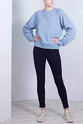 loopback azzurro in cotone Felpa Donna Ralph girocollo Polo Lauren qH080R