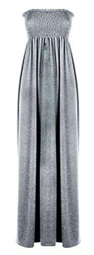Women's Plain Sheering Bandeau Boob tube Gather Strapless Maxi Dress (US 16/18 (UK 20/22 ), SILVER GREY)