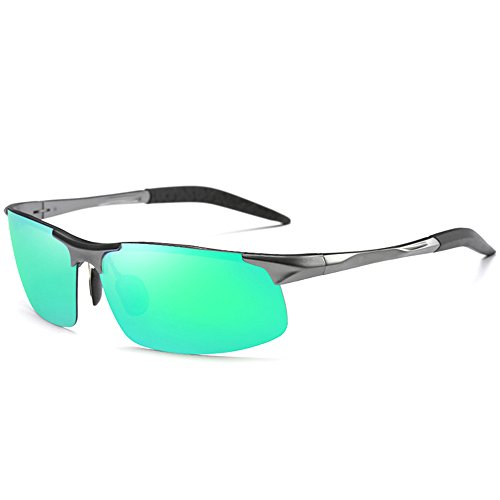 MOTELAN Men's Polarized Sunglasses for Driving Fishing Golf Metal Glasses UV400 (Mens Golf Green)