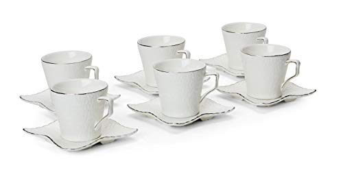 12-pc White Espresso Set, Crinkle Skin Pattern with Silver Line Edge, 3 Oz. Bone China Cups with 4