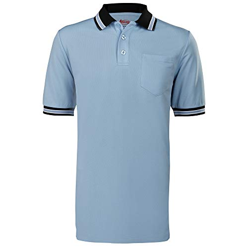 Adams Baseball and Softball Umpire Shirt with Back Vent, Powder Blue/Black, -