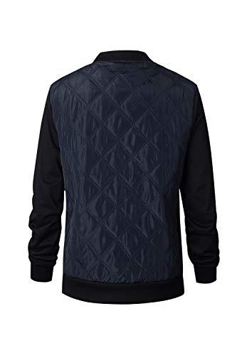 Scurocolor A Per Giacche Outwear Pieno Casuale Lunghe Maniche Blu Le Vosujotis Slim Zip Controllare OUzwY1x